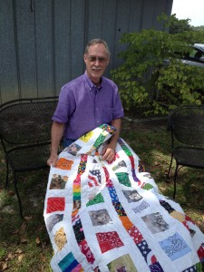 Dad with George's quilt