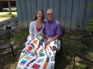 Dad & me with George's quilt