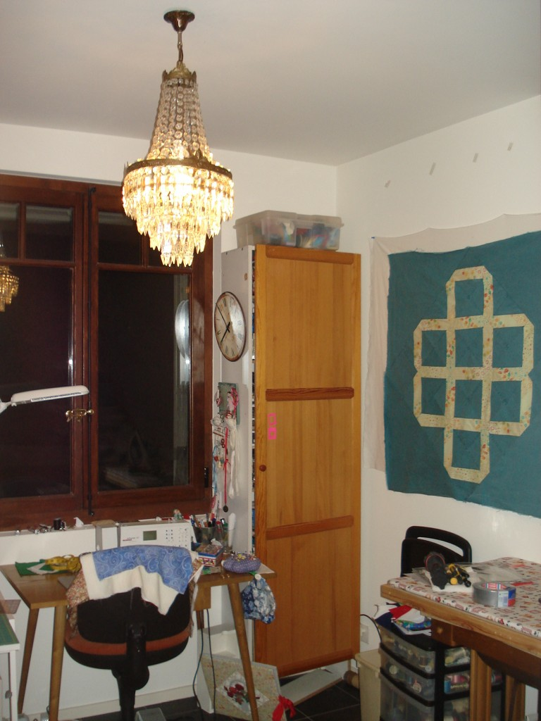 chandelier, sewing room